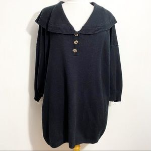 STEFANO shawl collar quarter button neck one size